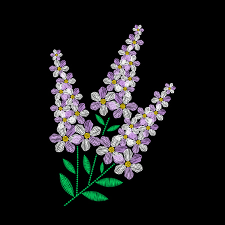 Embroidery is smooth. Embroidery with lilac flowers. Vector illustration on a black background. Vector Illustration