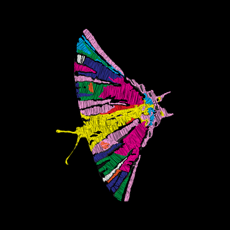 Embroidery of jeans. Smooth. Butterfly is multicolored. Vector illustration on a black background. Stock Illustratie