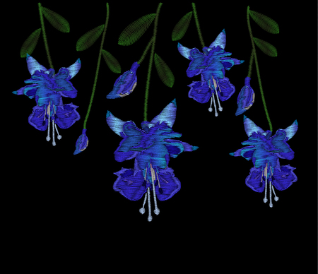 Beautiful blue fuchsia flowers. Embroidery of jeans. Embroidery is smooth. Vector illustration on a black background