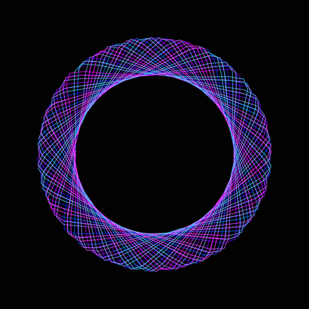 Blue neon mandala. Ornament, circular geometric pattern, spirogram. Oriental pattern. Vector illustration on black background.