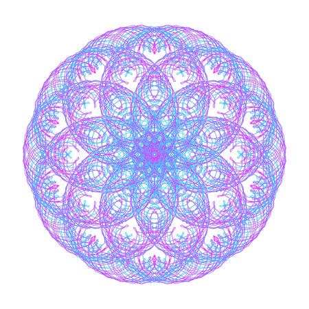 Color mandala, optical illusion, pattern, circular geometric pattern, spirogram. Oriental pattern. Vector illustration on isolated background