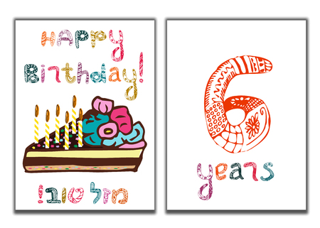 The inscription of Happy Birthday. Mazl Tov in Hebrew in translation I wish you happiness. A piece of cake with candles. Children greeting card for 6 years. Doodle, hand draw. Vector illustration.