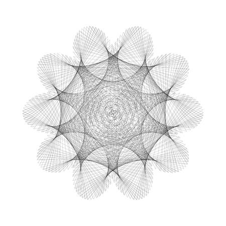 Mandala, optical illusion, pattern, circular geometric pattern, spirogram. Oriental pattern. Vector illustration on isolated background. 向量圖像