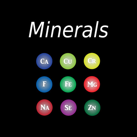 Icons minerals. Vector illustration on a black background. Minerals with bright color glossy balls for science articles, medicine and health magazines Illustration