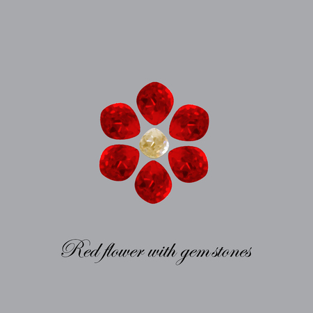 Red flower of the gemstones. Vector illustration 向量圖像