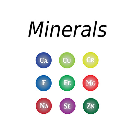 Icons minerals. Vector illustration on isolated  background. Minerals with bright color glossy balls for science articles, medicine and health magazines