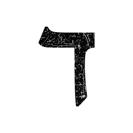 Hebrew letter Dalet. Shabby black font. The Hebrew alphabet