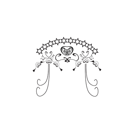 Vintage graphic Chuppah. Religious Jewish wedding canopy for. Vector illustration on isolated background