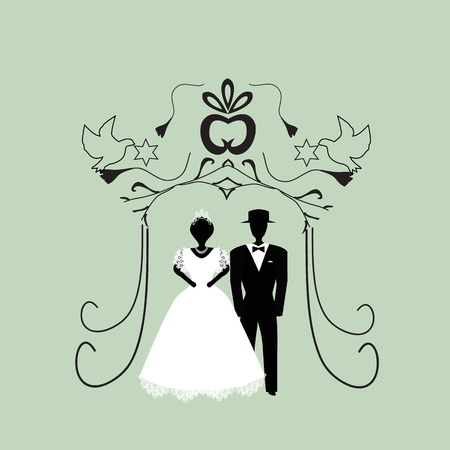 Vintage graphic Chuppah. Religious Jewish wedding canopy for. Bride and groom. Flat. Vector illustration on isolated background