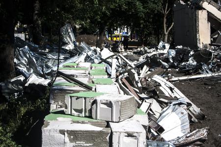 Stones, destroyed buildings, building. Demolition. A pile of stones. Stones with wire Reklamní fotografie