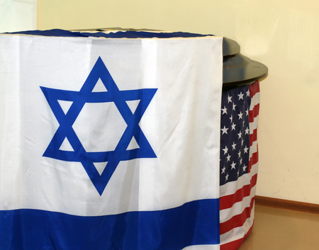 The Israeli flag. Flag of the United States. Stock Photo