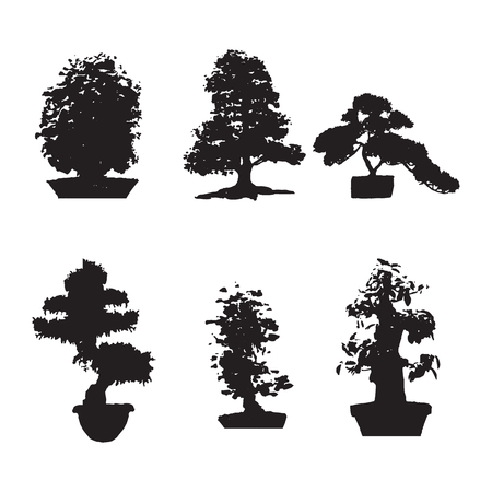Set of six black silhouettes bonsai on an isolated background. Miniature trees gorshkah.yu Potted trees, Japanese tree