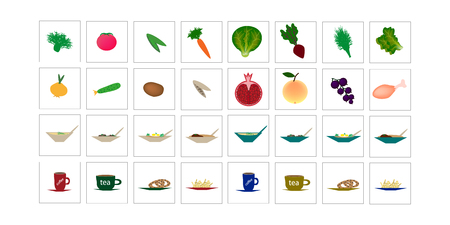 Set of icons with food, vegetables, fruits. Vector illustration