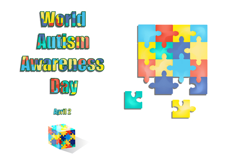 2 April as World Autism Day. Color Puzzles. Vector illustration on isolated background Illustration