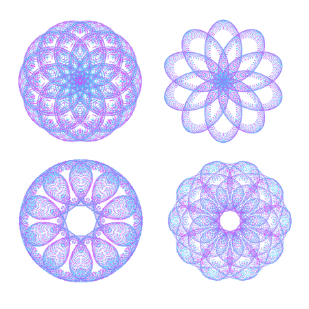 Set of colored mandalas. The ornament, a circular geometric pattern, spirogram. Oriental pattern. Vector illustration on isolated background