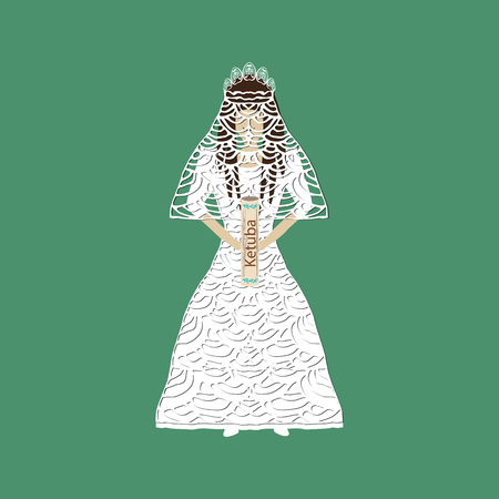 Jewish religious girl in a wedding dress. Bride with ketubah hands. Vector illustration