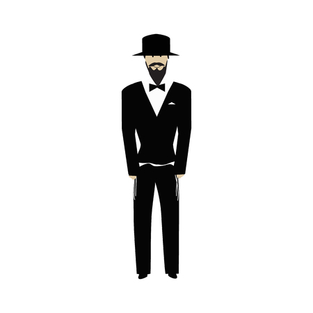 Jewish religious man with a beard wearing  hat. Jew. Groom. Vector illustration on isolated background Illustration