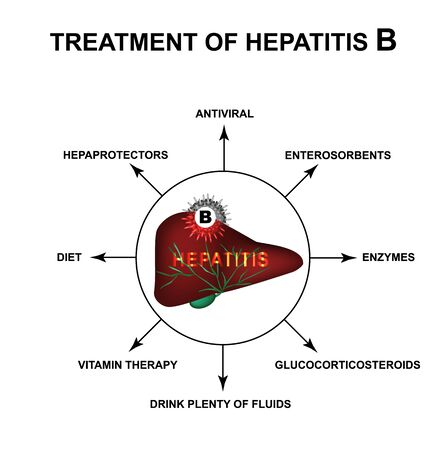 Treatment of hepatitis B. World Hepatitis Day. Infographics. Vector illustration on isolated background.