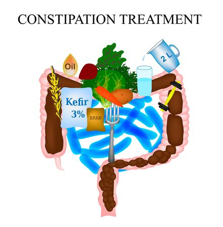 Treatment of constipation. Infographics. Vector illustration on isolated background. Stok Fotoğraf
