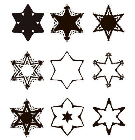 Vintage Star of David. Jewish six-pointed star. Set. Hand draw. Vector illustration on isolated background. Illustration