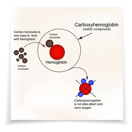 Carboxyhemoglobin. Joining the hemoglobin carbon monoxide. The inability to transport oxygen. Carbon monoxide poisoning. Infographics. Vector illustration