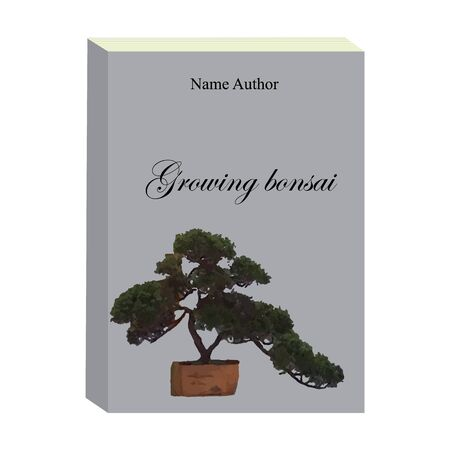 Grey book bonsai on the cover. Vector illustration