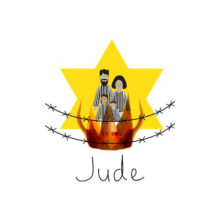 Yellow Star. Star of David. The six-pointed Jewish star. People in the camp. Vector illustration on isolated background