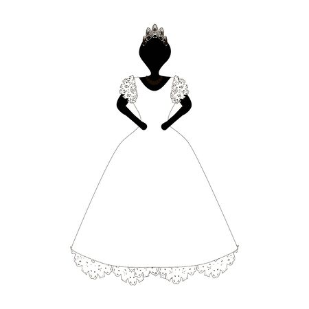 Bride. Beautiful girl in a dress. Vector illustration on isolated background.