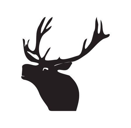 Black silhouette of a deer. Vector illustration on isolated background Stock Illustratie