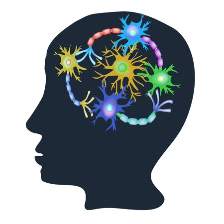 Synapses of neurons. Neural communications background. Neuron communication synapses in the brain. Vector illustration on isolated background. Illustration