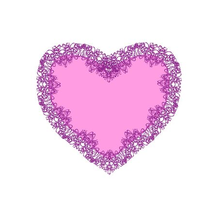 Pink lacy heart for Valentines day. Vector illustration on isolated background