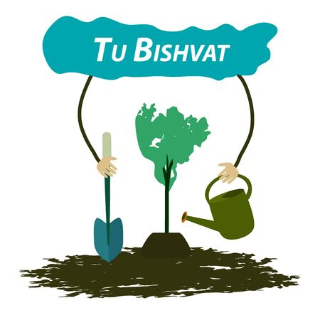 Tu Bishvat Jewish new year of trees. Planting trees on Tu Bishvat. Flat style. Vector illustration on isolated background.