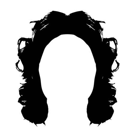 Black silhouette of a girl with curly hair. Long hair hairstyle silhouette. Portrait of a girl in full face. Vector illustration on isolated background.