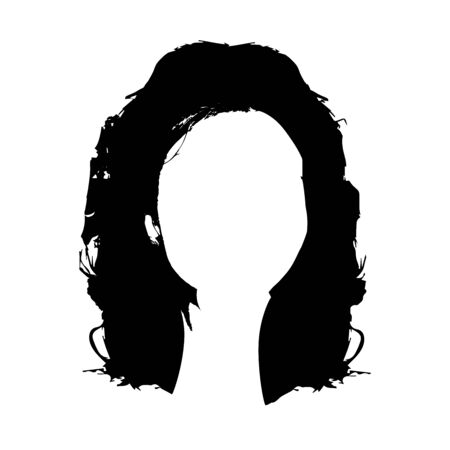 Black silhouette of a girl with curly hair. Long hair hairstyle silhouette. Portrait of a girl in full face. Vector illustration on isolated background