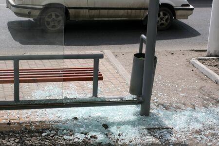 Stopping transport broken glass. Waiting for transport. Banco de Imagens