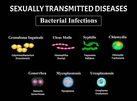 Syphilis, spirochaete, Treponema, Gonococcus, Gonorrhea, Chlamydiosis, Chlamydia, Mycoplasma, Ureaplasma Bacterial infection set. Sexually transmitted diseases. Infographics. Vector illustration