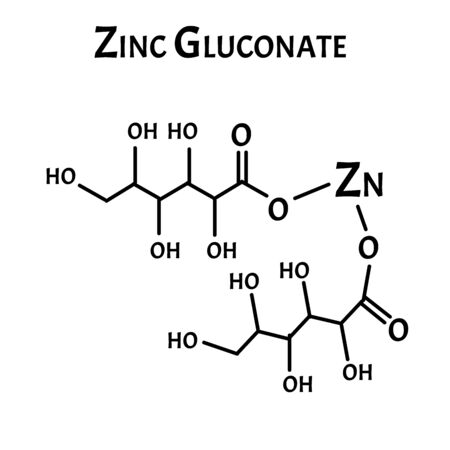 Zinc Gluconate is a molecular chemical formula. Zinc infographics. Vector illustration on isolated background.