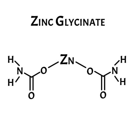 Zinc glycinate is a molecular chemical formula. Zinc infographics. Vector illustration on isolated background.