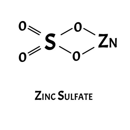 Zinc sulfate is a molecular chemical formula. Zinc infographics. Vector illustration on isolated background.