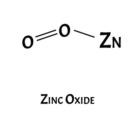 Zinc oxide is a molecular chemical formula. Zinc infographics. Vector illustration on isolated background.