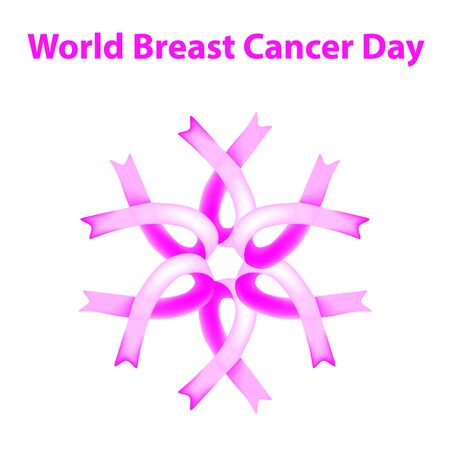 World Breast Cancer Day. Pink ribbon against breast cancer. Vector illustration on isolated background.