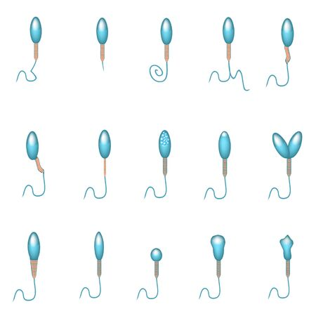 Pathological forms of sperm in the ejaculate. Male infertility Oligospermia. Spermogram. Sperm pathology types. Sperm defects. Infographics. Vector illustration on isolated background. Ilustração