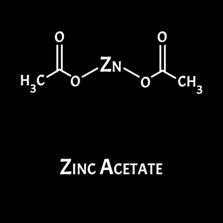 Zinc Acetate is a molecular chemical formula. Zinc infographics. Vector illustration on isolated background.