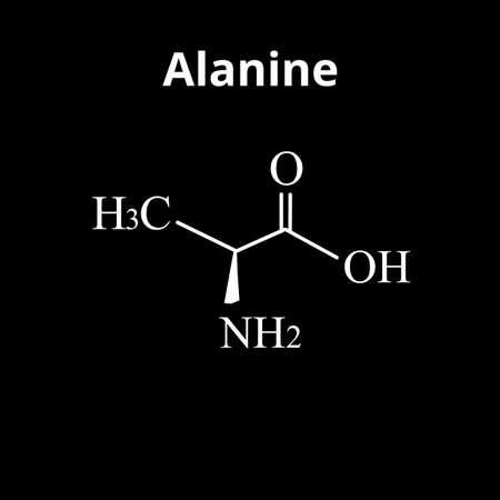 Alanine is an amino acid. Chemical molecular formula Alanine amino acid. Vector illustration on isolated background Ilustración de vector