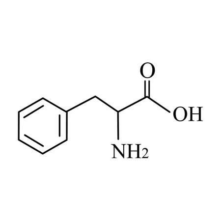 Phenylalanine is an amino acid. Chemical molecular formula Phenylalanine Amino Acid. Vector illustration on isolated background