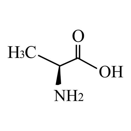 Alanine is an amino acid. Chemical molecular formula Alanine amino acid. Vector illustration on isolated background