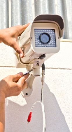 setup cctv camera on wall Stock Photo - 11231418