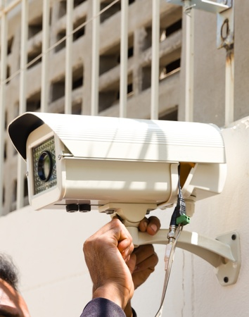 setup cctv camera on wall Stock Photo - 11229752