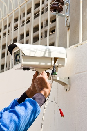 setup cctv camera on wall
