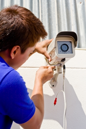 setup cctv camera on wall Stock Photo - 11229756
